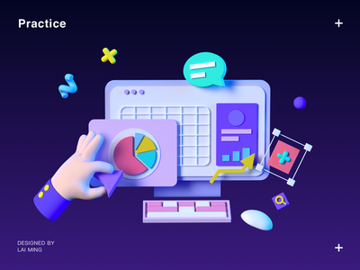 Practice illustration cool ui gui 3d c4d data hand gesture mac finger pc computer dialogue violet keyboard design icon icons