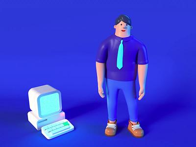 People necktie shoes trousers shirt steve jobs programmer blue dance man imac mac apple body c4danimation c4d 3d animation 3d animation ui people