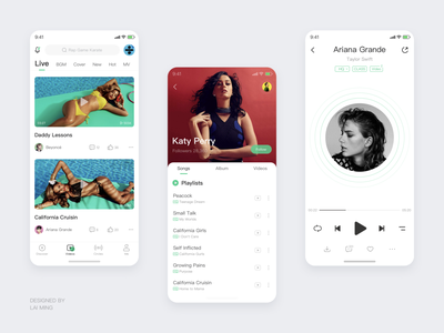 Music App video setting player play list katy perry green discover beyonce cool icons artist app theme music phone ux icon gui ui