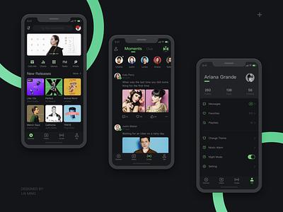 Music App play night mode night list katy perry icons green dark mode dark black beyonce artist app music theme phone ux icon gui ui