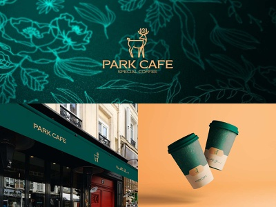 Park Cafe mark identity branding design logo flowers coffeeshop cup deer gold green logo coffee bean coffee shop coffee cup coffee cafe parks