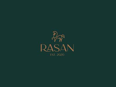 Rasan animal illustration green gold rasan horse typography invitation mark identity branding design logo