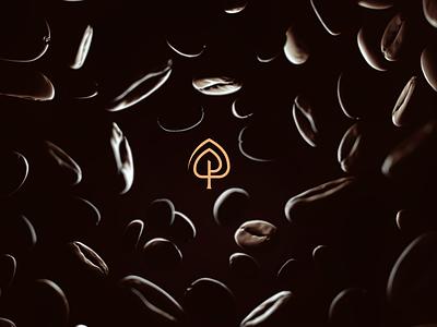 Park coffee bean coffeeshop concept park tree coffee cup coffee yellow invitation mark identity branding design logo
