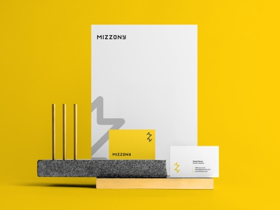 Mizzony creative brand and identity thunder z bolt yellow branding logo