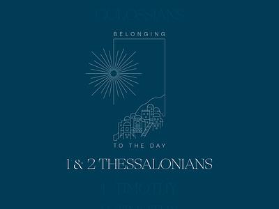 Cover art for study of 1 & 2 Thess. bible gospel thessolonika greece line art illustration bible study thessalonians church design church