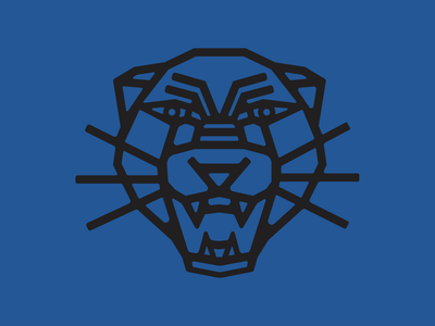 panther fort worth cream blue black lineart line goemetric illustration panther