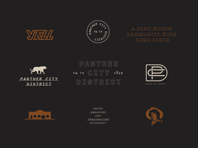 logo exploration panther city panther fort worth city illustration