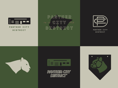 more logo adventures animal cream black charcoal green industrial panther city panther fort worth city logo branding illustration
