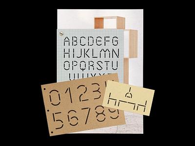 Assembly Typeface graphic design custom type typeface grid architecture cream paper kraft branding furniture