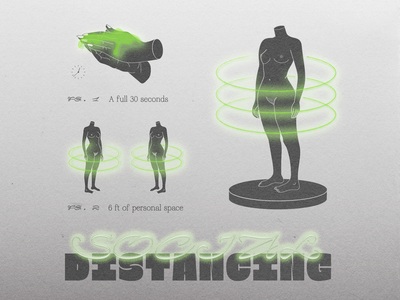 Social Distancing hands body social media coronavirus glow gradient illustration virus distancing