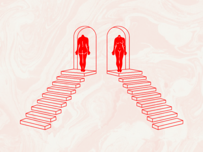 Gemini Season illustration stairs duality twins marbling bodies