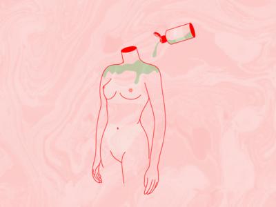 Aloe sunburn illustration lotion marble pink vera aloe