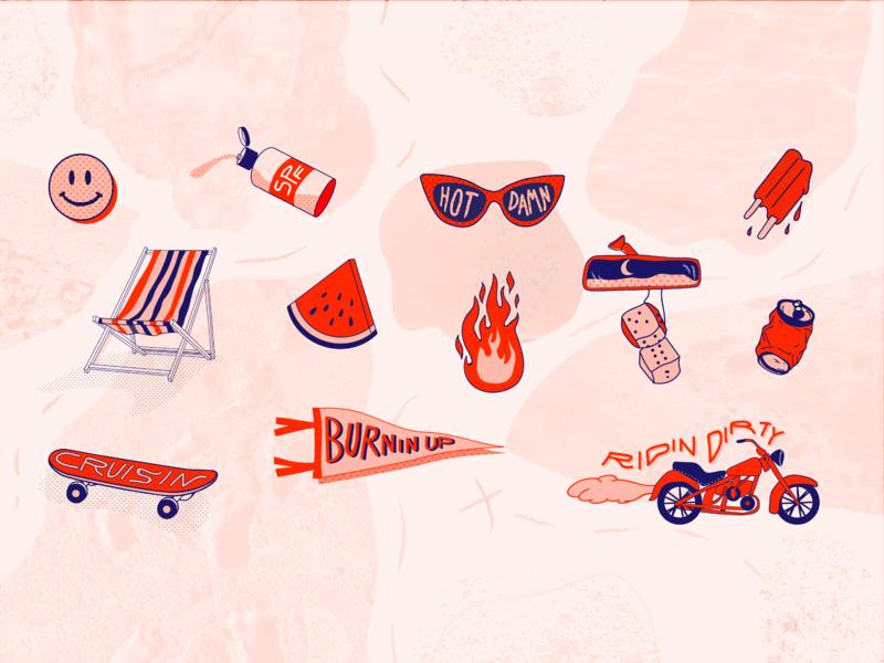 Summertime Fine adventure red pink halftone illustrations sticker set sticker