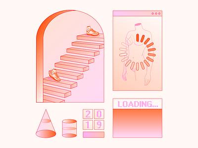2019 gradient geometry shapes body screen loading stairway