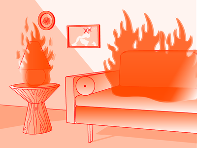 Does this spark joy? red illustration gradient interior furniture fire