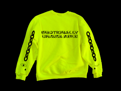 Emotionally Unavailable Long Sleeve safety yellow neon screen print tshirt mockup eye chains