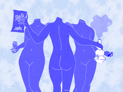 The Three Graces illustration tie dye vector snacks la croix bong weed women bodies drawing color blue