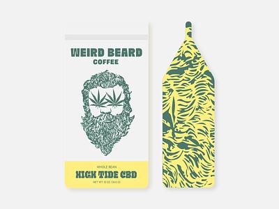 CBD Coffee packaging bag weed coffee illustration beard weird