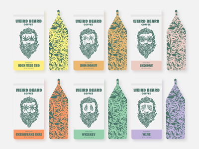 Weird Beard Coffee grapes hops flower illustration beard design packaging coffee bag