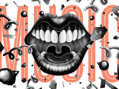 Sing, Sing, Sing (Music) Illustration iarafath sing happy photoshop crunchy twirl lips mouth scattered self-promo design illustration
