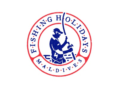 Fishing Holiday Maldives Second lockup for social media and web branding travel fishing negative space mark logotype sign outdoor traditional logo lettering iarafath