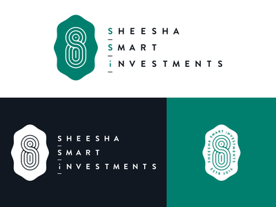 Sheesha Smart Investment logo shadow process monogram minimal identity grid geometric corporate clean logo negative space branding