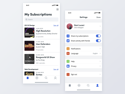 Daily UI #007 User Settings design ui settings page ios app daily ui 007 dailyui