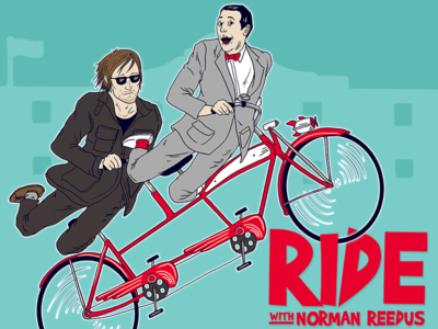 Ride With Norman Reedus instagram movie fun commission television gift poster celebrity reedus norman illustration