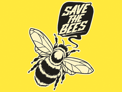 Save the Bees typography logo graffitti illustrator illustration nature bees