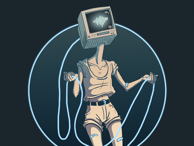 Washed Up - Cashed Out character music band art album retro cord television robot techno scifi illustration