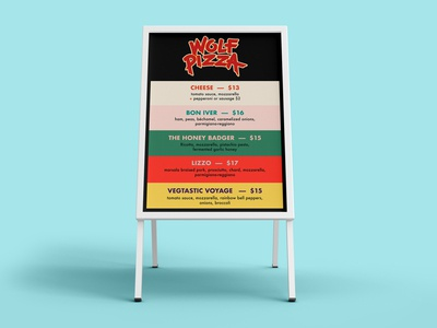 Wolf Pizza - Spring Menu - Signboard