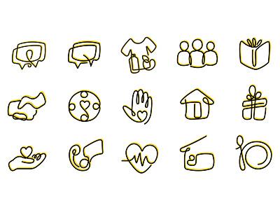 Charity Icon Set icon illustration vector branding illustrator cc design shelter volunteer donate