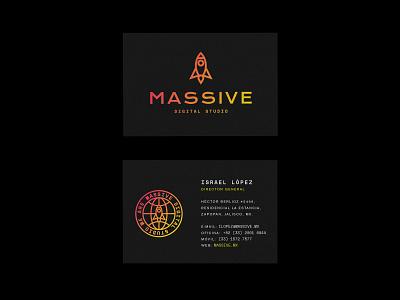 Massive Branding icon rocket space spaceship graphic design business cards branding
