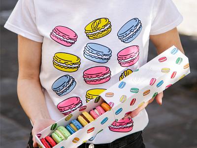 Macaron Tee branding packaging box macaronbox apparel icon illustration tshirt clothing macarons