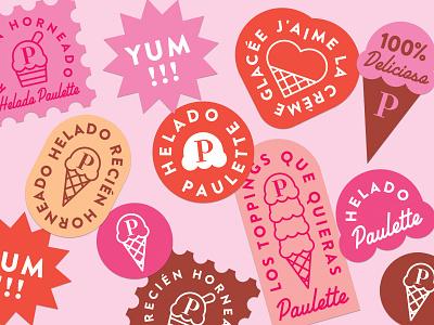 Helado Paulette Stickers cute stickers ice cream illustration icons logo branding