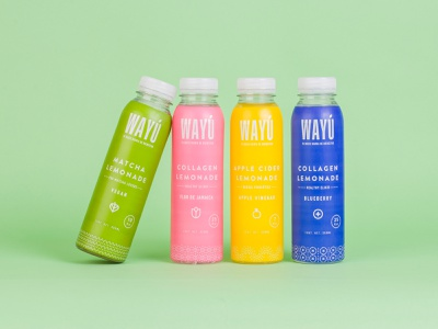 ¡Wayú Lemonades! label graphic design logo apple blueberry matcha lemonade healthy drinks brevages branding