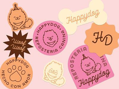 Happy Dog Stickers! typography monogram dog logo branding stickers
