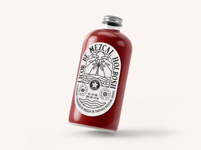 Licor de Mezcal Holbosh logo graphic design labeldesign wine spirits branding mezcal label