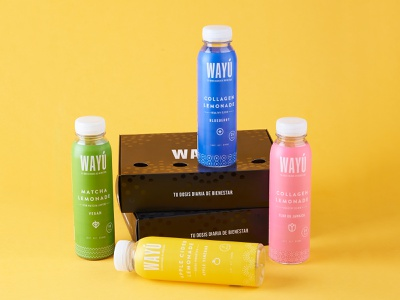Wayú Box matcha yellow color graphic design branding drinks lable box