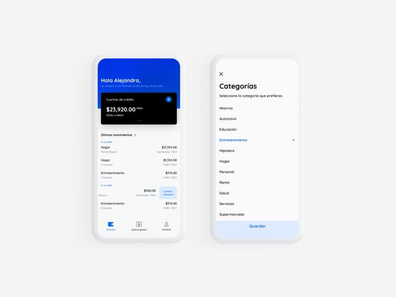 Wallet white black blue wallet app clean categories category finance wallet ios app ui fintech minimal
