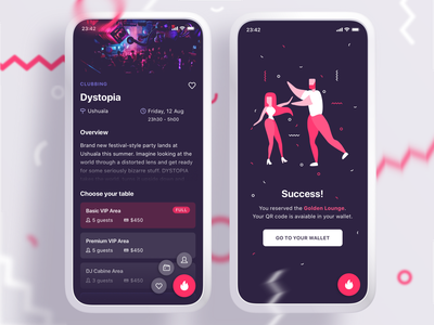 VIP Booking App tickets sketch illustration success booking vip ux ui party purple pink dark ui app mobile clubbing