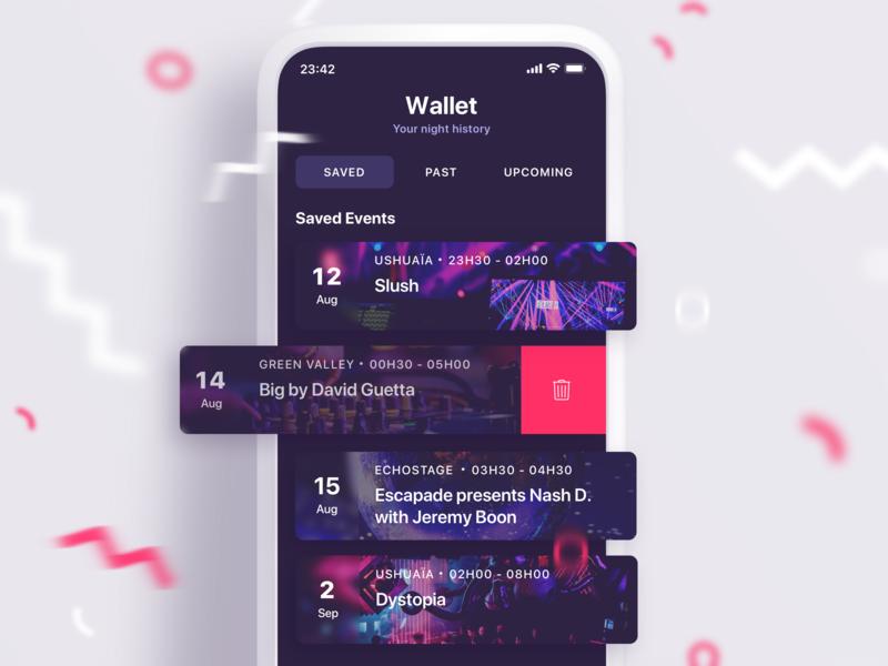 VIP Booking App wishlist interaction swipe tickets sketch illustration success booking vip ux ui party purple pink dark ui app mobile clubbing