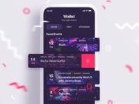 VIP Booking App wishlist interaction swipe tickets sketch illustration success booking vip ux ui party purple pink dark ui app mobile clubbing