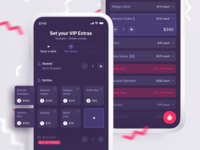 VIP Booking App shop list checkout interaction swipe tickets sketch illustration success booking vip ux ui party purple pink dark ui app mobile clubbing