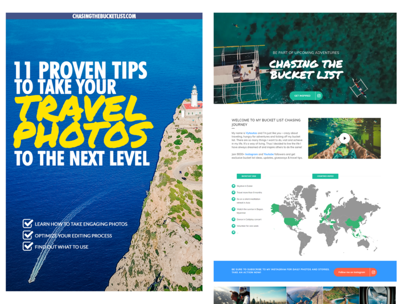 Chasing The Bucket List eBook landing page beach sea photography illustration logo branding travel ebook cover ebook