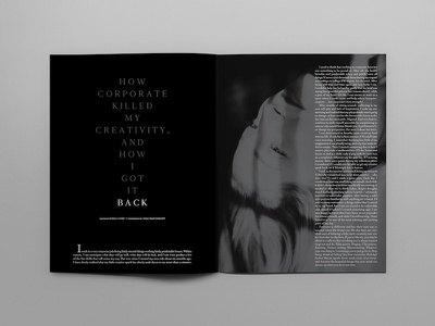 Corporate Killed Magazine Spread magazine layout black and white magazine spread