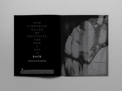 Corporate Killed Magazine Spread magazine layout black and white magazine spread