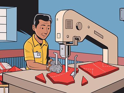 Fabric Cutting vectors fabric cutting garmentfactory worker illustration