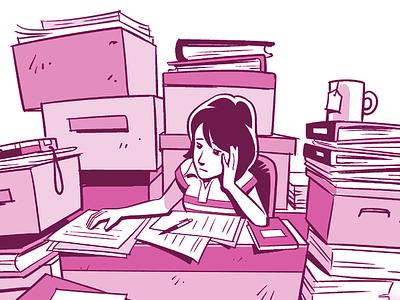 Swamped clipstudiopaint illustration office desk businesswoman