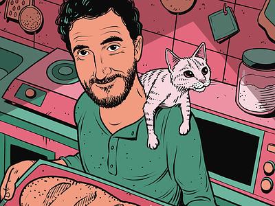 Artur & Cat baker kitchen cat man portrait clip studio paint illustration